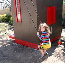 Back view of kids playhouse