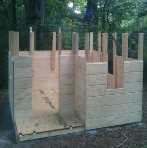Construction of the sides of the playhouse