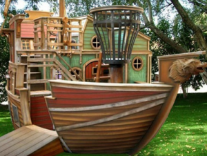 Pirate's kids playhouse side view